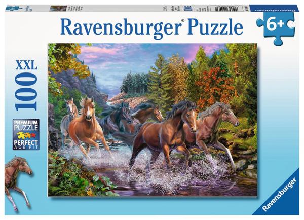 תמונה של פאזל סוסים דוהרים בנהר 100 חלקים