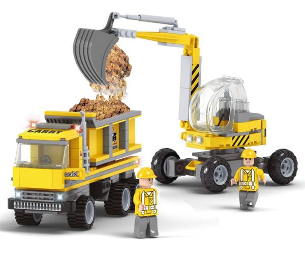 תמונה של משחק הרכבה תואם לגו באגר ומשאית עפר