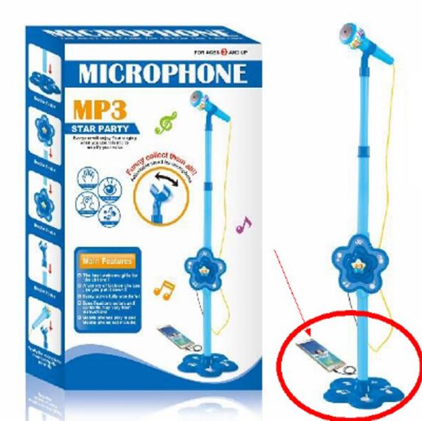 תמונה של מעמד מיקרופון כולל חיבור לטלפון MP3