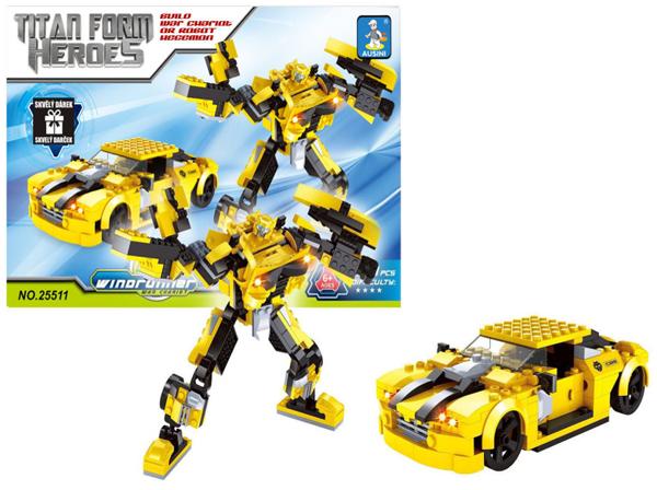 תמונה של תואם לגו רובוט ומכונית צהובה