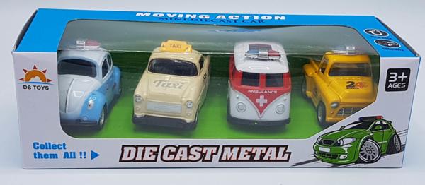 תמונה של 4 מכוניות מתכת רטרו