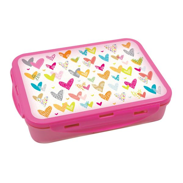 תמונה של קופסת אוכל מחולקת עם קליפסים דגם לבבות צבעוני