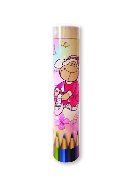 תמונה של סט 12 עפרונות צבעוניים בגליל ניקי
